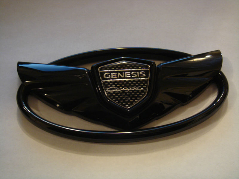 Genesis Coupe Wing badge emblems Grille+Trunk ..GLOSSY BLACK SET