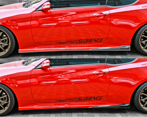 2010-2013 Hyundai Genesis Sequence Spec-1 Side Skirts