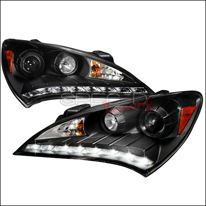 SPEC D PROJECTOR HEADLIGHTS+R8 LED DRL DAYTIME RUNNING STRIPS BLACK GENESIS COUPE