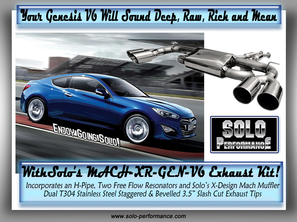 2010+ Solo Performance Mach-XR-Gen-V6 Catback Exhaust Kit for 3.8L Genesis V6