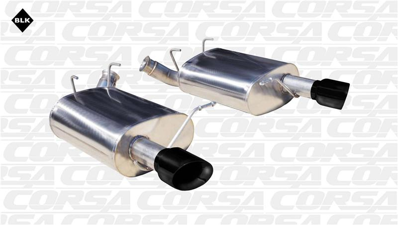 Corsa 11-14 Ford Mustang 3.7L V6 Black Sport Axle-Back Dual Rear Exhaust